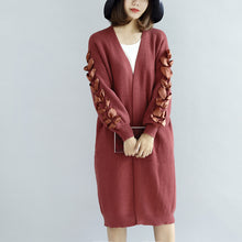 Load image into Gallery viewer, Brick red knit cardigans oversized sweater coats decorated sleeves