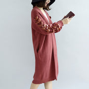 Brick red knit cardigans oversized sweater coats decorated sleeves