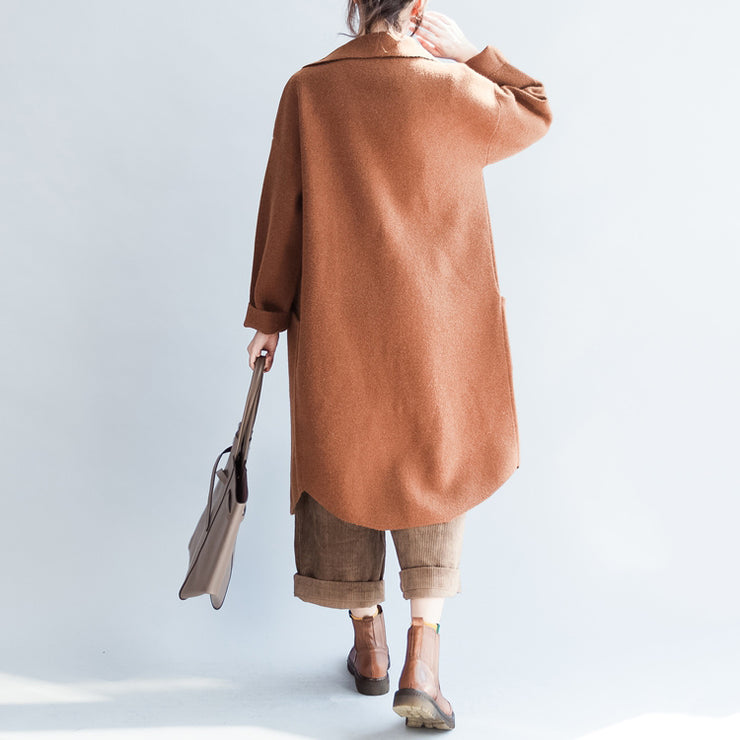Brick red long woolen coats oversized winter cardigans jackets