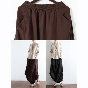 Brick red oversized linen skirts asymmetrical design elastic waist long skirt