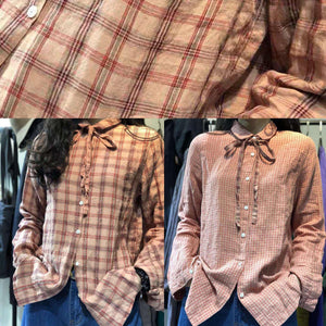 Brief small plaid linen blended long sleeve tops