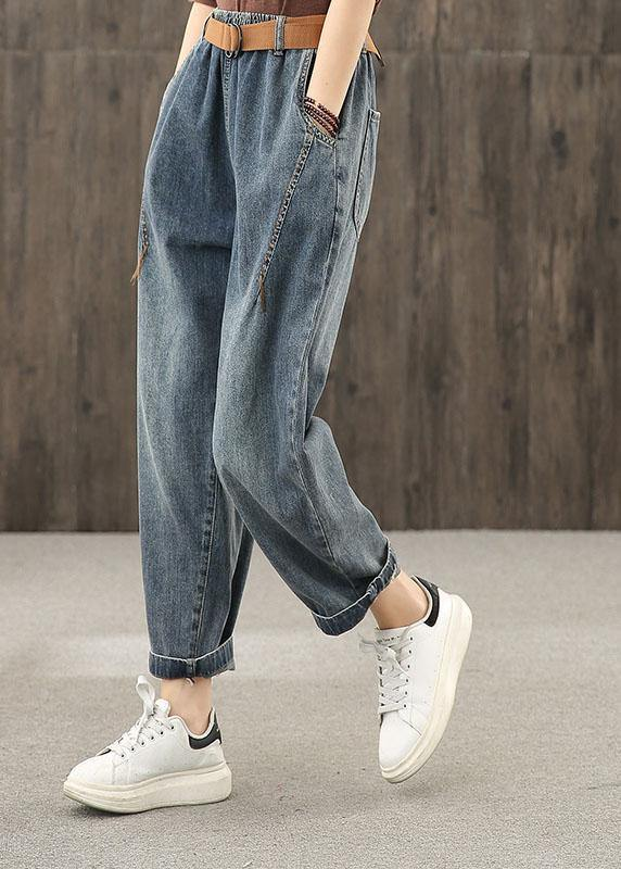 Bright line decoration retro washed denim autumn new casual trousers