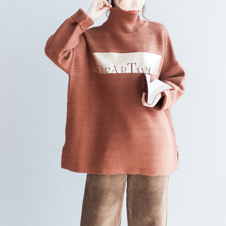 Brown oversized women knit sweaters vintage turtle neck warm knit tops pullover