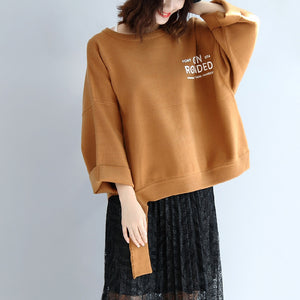 Brown oversized woolen sweat tops warm winter short t shirts