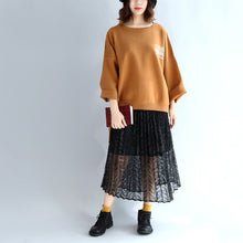 Load image into Gallery viewer, Brown oversized woolen sweat tops warm winter short t shirts