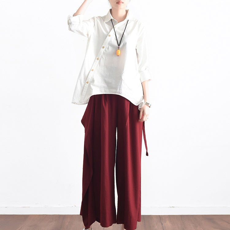 Burgundy asymmetric linen crop pants oversize wide leg pants trousers