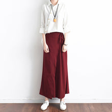 Load image into Gallery viewer, Burgundy asymmetric linen crop pants oversize wide leg pants trousers