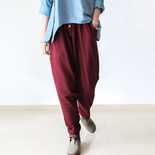 Load image into Gallery viewer, Burgundy warm winter pants thick cotton pants casual style buttons up