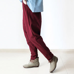 Burgundy warm winter pants thick cotton pants casual style buttons up