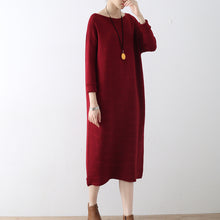 Load image into Gallery viewer, Burgundy wave knit sweater dresses casual long winter dresses cotton sweaters winter 2017