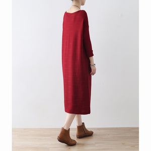 Burgundy wave knit sweater dresses casual long winter dresses cotton sweaters winter 2017