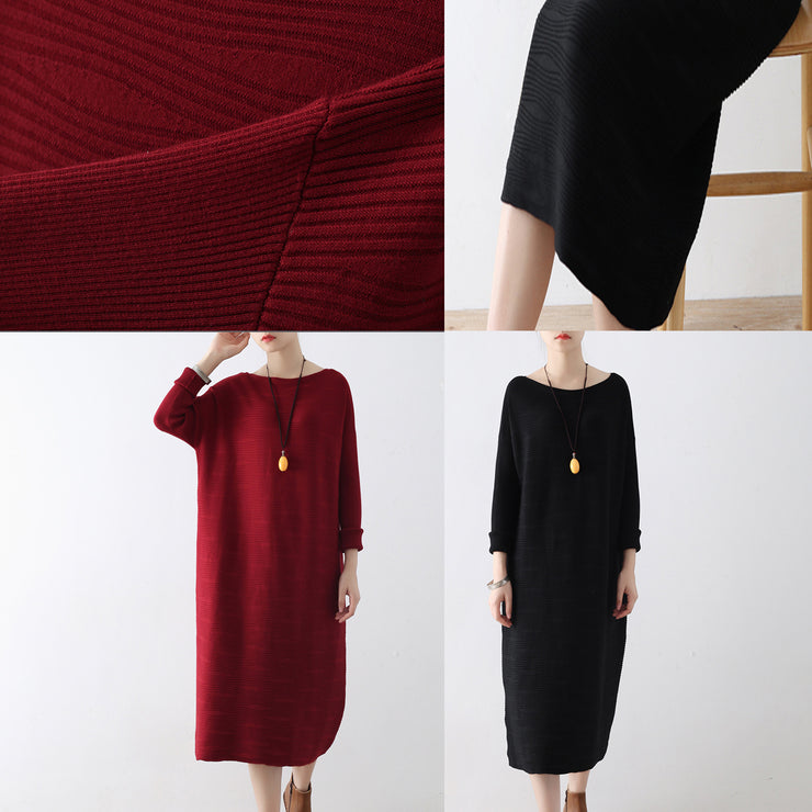 Burgundy wave knit sweater dresses casual long winter dresses cotton sweaters winter 2021