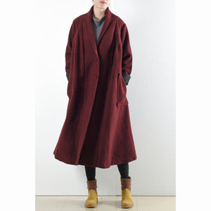 Burgundy woolen coats 2017 winter trench coats plus size cardigans