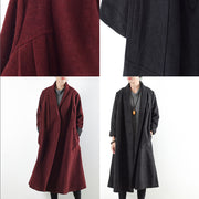 Burgundy woolen coats 2021 winter trench coats plus size cardigans