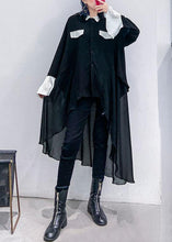 Load image into Gallery viewer, Buy black chiffon Long Shirts Work Outfits asymmetric Plus Size Clothing lapel Dresses