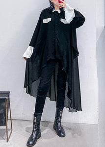 Buy black chiffon Long Shirts Work Outfits asymmetric Plus Size Clothing lapel Dresses