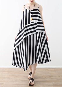 Buy black striped chiffon clothes For Women Plus Size Work Spaghetti Strap robes Summer Dress