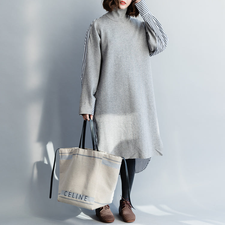 Buy gray cotton clothes For Women Metropolitan Museum Work Art high neck Batwing Sleeve Dress