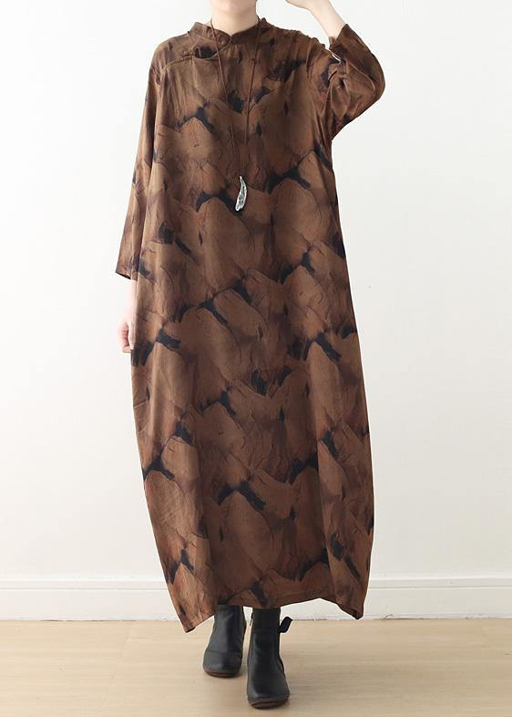 Buy o neck baggy spring kaftans Fitted Life chocolate print Dresses