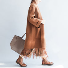 Load image into Gallery viewer, Camel tasseled maxmara cashmere coats long woolen cardigans warm jackets outwear