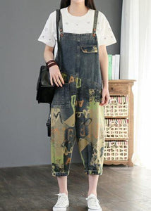 Camouflage printed denim overalls plus size women's casual cropped harem pants