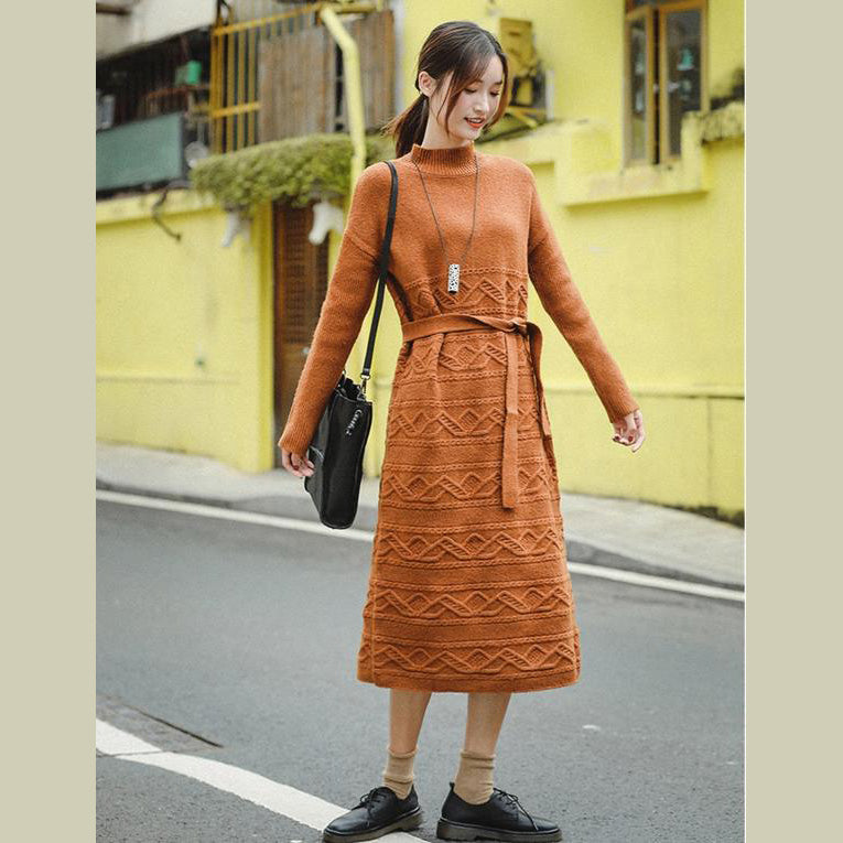Casual Loose Orange Sweater DrawstringDresses Women Winter Clothes