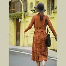 Load image into Gallery viewer, Casual Loose Orange Sweater DrawstringDresses Women Winter Clothes