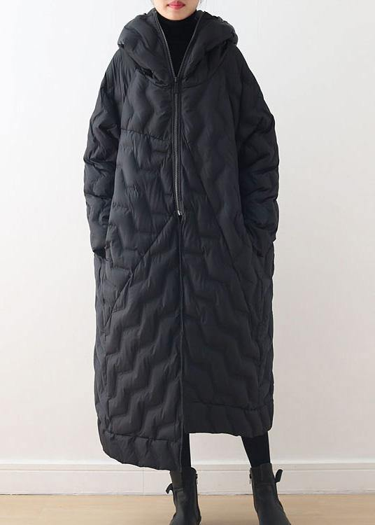Casual Loose fitting down jacket hooded overcoat black asymmetric down coat winter