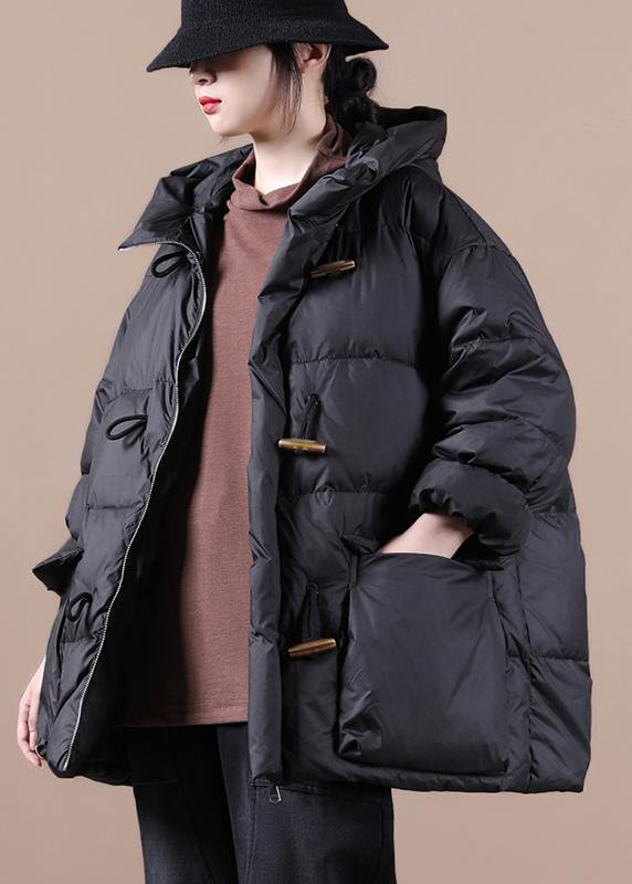 Casual Loose fitting womens parka overcoat black hooded pockets goose Down coat