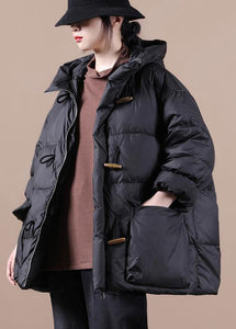 Casual Loose Fitting Womens Parka Overcoat Black Hooded Pockets Cotton Coat