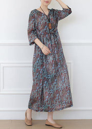 Casual Print Linen Dress V Neck Half Sleeve Spring Dress