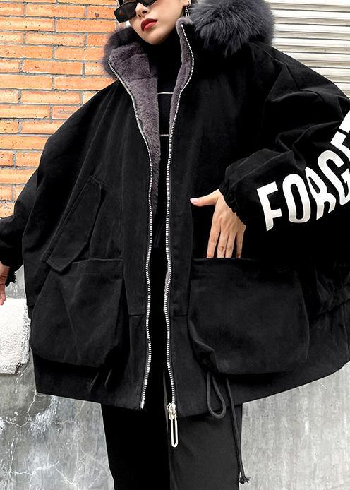 Casual black Letter coats plus size snow jackets faux fur collar pockets coats