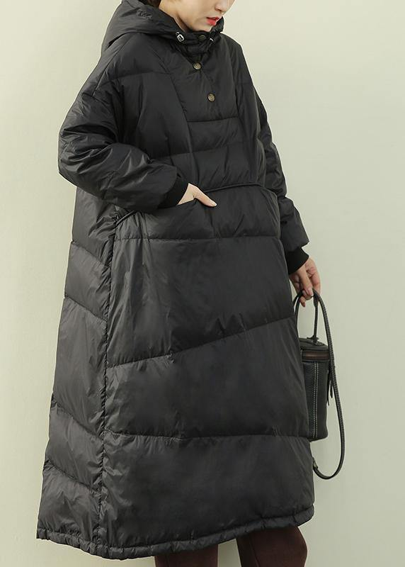 Casual black down coat winter plus size hooded Button Down  coats