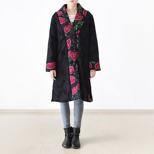 Casual black print down overcoat Loose fitting patchwork down jacket women side open overcoat