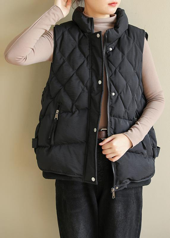 Casual black winter coats plus size clothing Jackets & Coats sleeveless half high neck overcoat