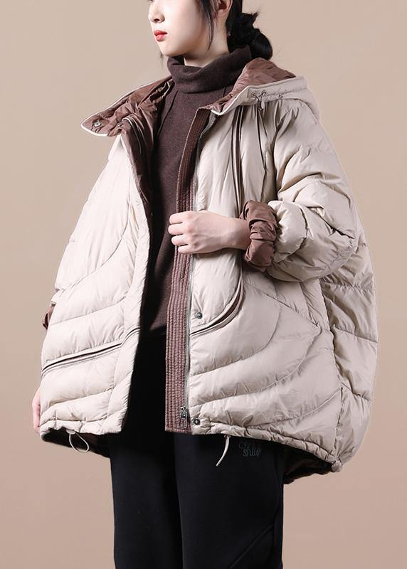 Casual casual down jacket overcoat khaki hooded pockets goose Down coat