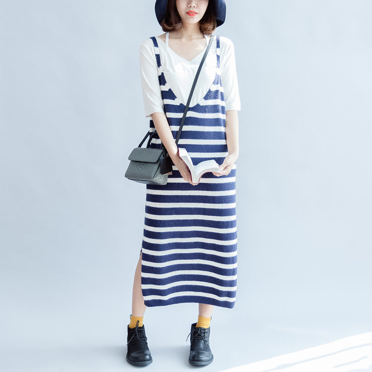 Casual fall blue white striped knit dresses plus size women sleeveless sweater dress
