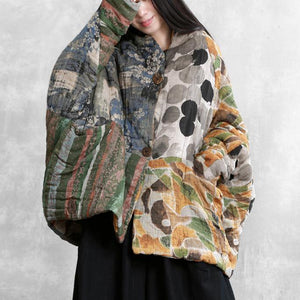 Casual floral winter coats oversized snow Batwing Sleeve pockets coats