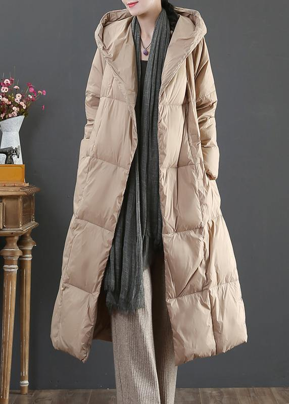 Casual gold down jacket woman oversize womens parka hooded pockets winter outwear