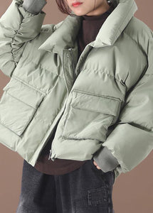Casual green down coat winter trendy plus size down jacket two pocketsstand collar Jackets
