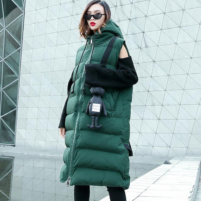 Casual green down jacket plus size hooded zippered parka Casual Sleeveless Animal overcoat