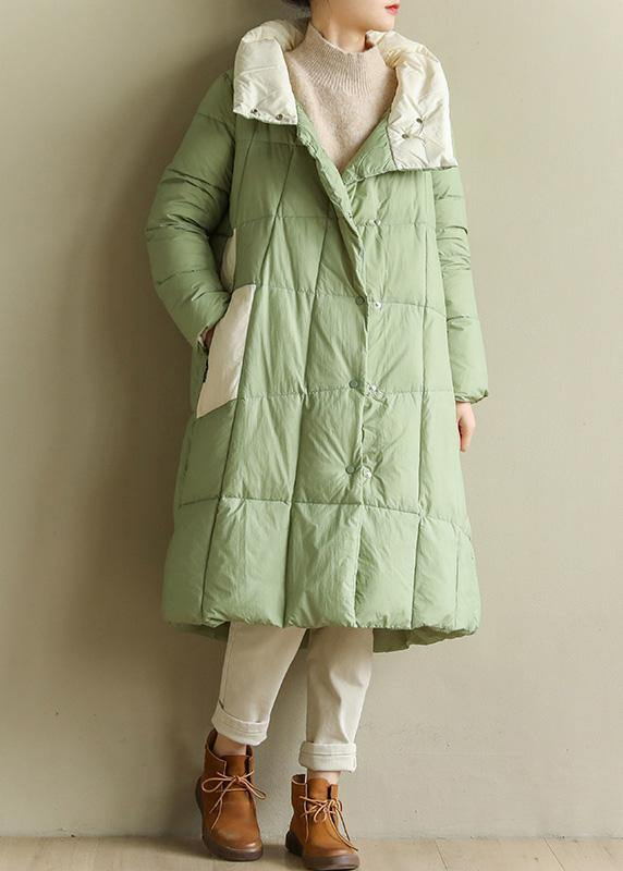 Casual green down jacket woman plus size patchwork down jacket stand collar Fine winter outwear