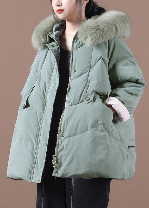 Casual green warm winter coat plus size clothing parka hooded fur collar coats