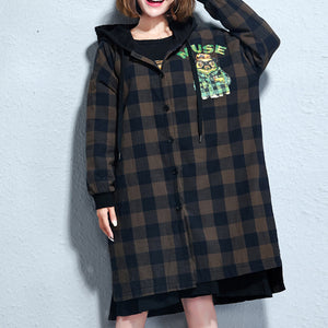 Casual grid prints cotton coats plus size hooded winter thick outfits