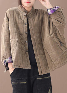 Casual khaki women casual thick stand collar outwear