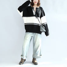 Casual long sleeve cotton sweater oversize black white patchwork knit pullover