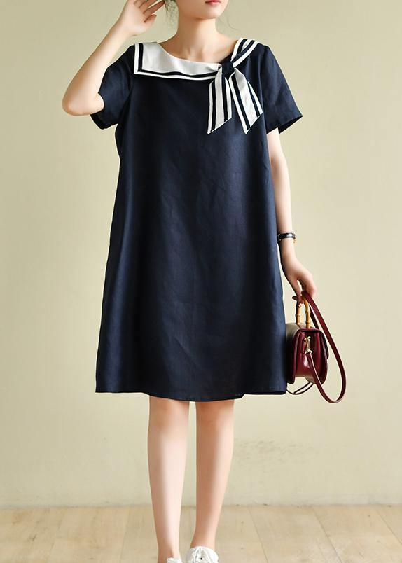 Casual navy style collar short sleeve mid-length dress