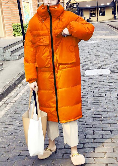 Casual orange down coat winter Loose fitting winter jacket stand collar Cinched quality overcoat