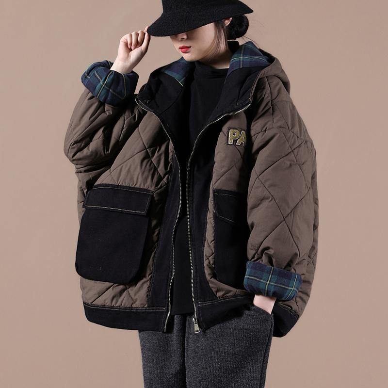Casual oversize warm winter coat chocolate hooded patchwork plaid Parkas for women
