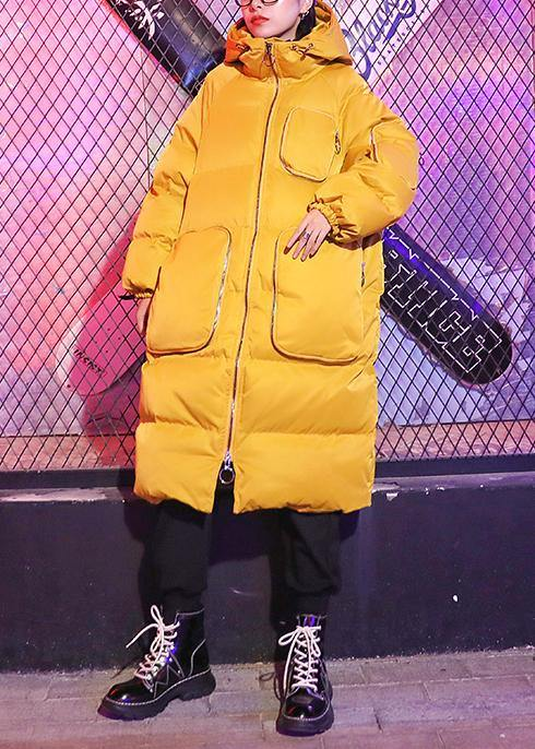 Casual oversized Jackets & Coats coats yellow hooded zippered Parkas